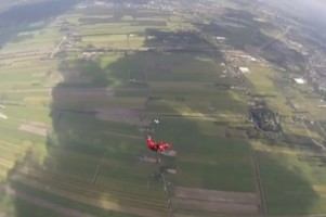 Skydive clear and pull shot from above