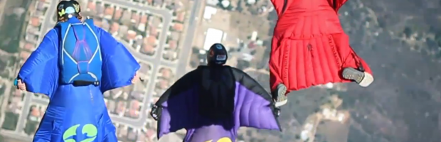 wing-suit skydive slomo